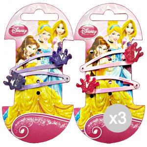 Set 3 GABBIANO Clic-Clac Disney Princess Corona 2 Pezzi 36642 (36063) Accessorio Per Capelli