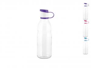HOME Bottiglia Vetro Trasparente 0,5 Tappo Colorato