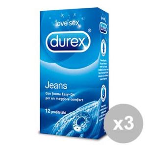 DUREX Set 3 JEANS 12 Condom Preservativi profilattici trasparenti lubrificati formula Easy On