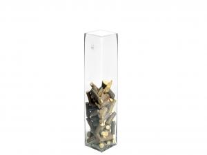 H&H Vaso Vetro Trasparente Quadro Cm10Xh40 Arredo E Decorazioni Casa