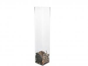 H&H Vaso Vetro Trasparente Quadro Cm15Xh70 Arredo E Decorazioni Casa