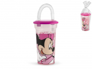 LULABI Set 6 Glass Ps Disney Minnie3 With Straw Furniture Table