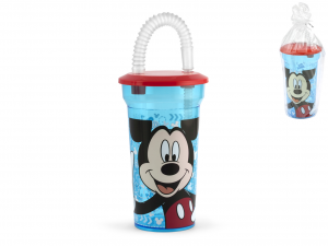 LULABI Set 6 Glass Ps Disney Mickey3 With Straw Furniture Table