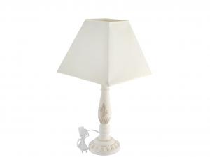 H&H Lampada In Legno Con Paralume 14X14X42 Luci E Decorazioni Casa