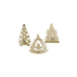 HOME Confezione 3 Alberi Natale Con Luci Assortiti Festività Arredo Casa