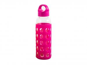 H&H Set 3 Bottiglia Borosilicato /Silicone Fucsia Tappo Plastica 0,36 Cl