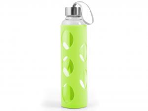 H&H Set 3 Bottiglia Borosilicato Con Silicone Verde Tappo Inox 0,6 Cl
