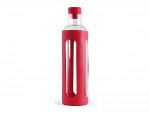 H&H Set 3 Bottiglia Borosilicato Con Silicone Rosso Lt0,56