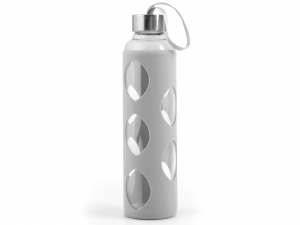 H&H Set 3 Bottle Borosilicate With Silicone Gray Cap Inox 0.6 Cl