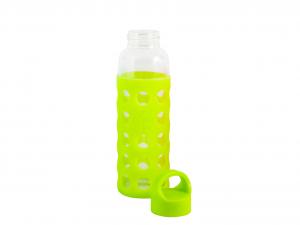 H&H Set 3 Bottiglia Borosilicato/Silicone Verde Tappo Plastica 0,36 Cl