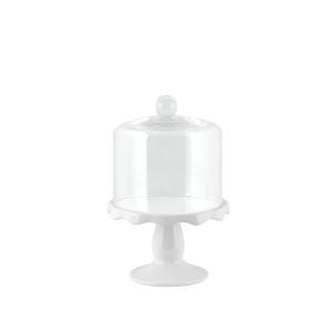 H&H Alzata Ceramica Con Campana Vetro 14Xh10 Arredo Tavola
