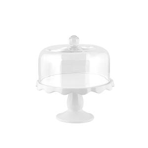 H&H Alzata Ceramica Con Campana Vetro 23Xh11 Arredo Tavola