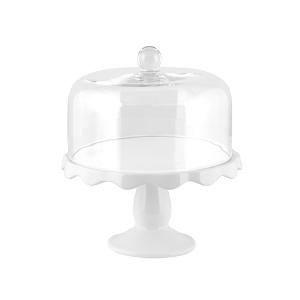 H&H Alzata Ceramica Con Campana Vetro 28Xh13 Arredo Tavola