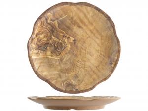 H&H Vassoio Melamina Tondo da Decoro Legno 30,5 cm Melamina Made in Italy