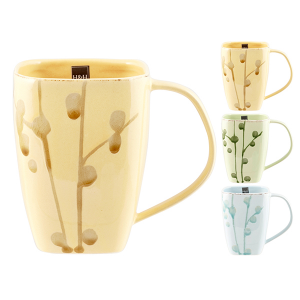 H&H Set 6 Tazzone Mug Cereali Decorazione Foglie Colazione Arredo Tavola
