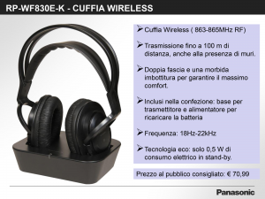 PANASONIC Wf830E-K Cuffie Wifi Black Con Stand Audio Video Hi-fi CUFFIE/MICROFONI
