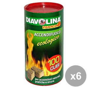Set 6 Diavolina Ecological X 100 Cubes Barbecue & Picnic