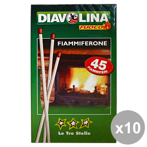 Set 10 Diavolina Fiammiferone Le Three Stars * 45 Pieces Barbecue & Picnic