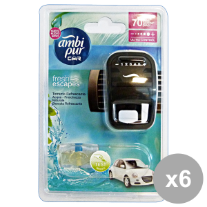AMBI PUR Set 6 Auto Base Aqua Deodorant Accessories Auto And Motor