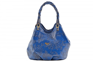 CUOIERIA FIORENTINA Borsa in Vitello stampato pelle Blu - Made in Italy