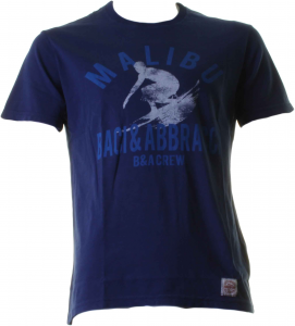 BACI & ABBRACCI T-shirt girocollo uomo blu con disegno surfer BAM1030-BLU