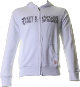 BACI & ABBRACCI Felpa full zip e cappuccio uomo 100% cotone bianco BAM901-BIAN