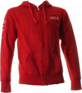 Baci & Abbracci  Full Zip And Hood 100% Cotton Red Man Bam910-red