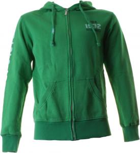 ABRAZOS Y BESOS cremallera y capucha completas 100% algodón hombre verde BAM910-GREEN
