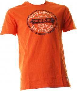 BACI & ABBRACCI T-shirt uomo maniche corte arancio con stampa BAM942-ARANCIO