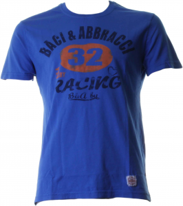 BACI & ABBRACCI T-shirt girocollo maniche corte uomo azzurro BAM940-AZZURRO