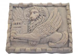 Quadro in marmo scolpito a mano leone di San Marco artigianato italiano BI-42-r