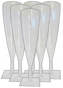 Bicchieri 6 pz. flute plastica champagne trasparenti - Articoli per pic-nic
