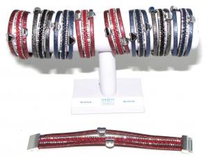 Bracelet Metal 3 Wires Similpelle Rhinestone B05832 Accessory Woman