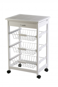 Archimede White Trolley With Baskets 47 Cm X 37 X 76 Kitchen, Wooden