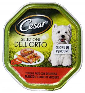CESAR Vaschetta 150 gr. umido patè manzo/cuore di verdure