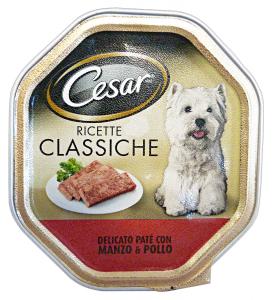 CESAR Vaschetta 150 Gr Umido Pate' Manzo/Pollo Cibo Per Cani