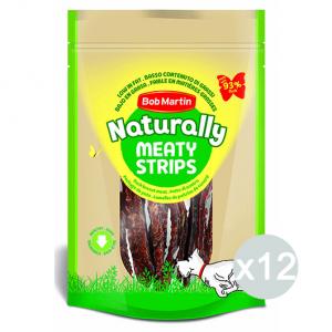 Set 12 BOB MARTIN Ossi Naturally Meaty Strisce D'Anatra 70Gr D0461 Snack E Treat Per Cane
