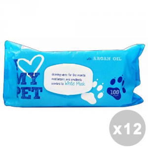 Set 12 Wipes Hygienic Animals * 100 Pieces Moss White I Love My Animal