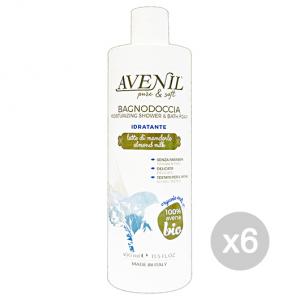 Set 6 AVENIL Doccia-Bagno 400 Ml Latte/Avena Prodotto Bagno E Doccia
