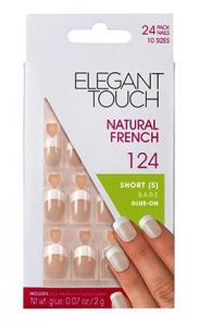 ELEGANT TOUCH Nails Fake 124 Natural French Short Bare