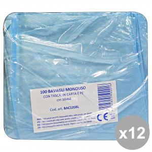 Set 12 Bavaglio Con Tasca X 100 Pezzi BLULINE BAC120BL Disinfettanti e igienizzanti