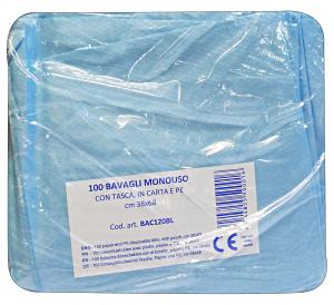 Bavaglio Con Tasca X 100 Pezzi BLULINE BAC120BL Disinfettanti e igienizzanti