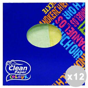 CLEAN Set 12 CLEAN Fazzoletti box quadrato * 60 pz. colorati 3 veli
