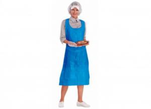 100 pezzi ICO Grembiule c/pettorina polietilene blu Uomo: abbigliamento lavoro