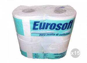 Set 15x4 (60 pz totali) CARTINDUSTRIA EUROCARTA Igienica eurosoft 500 2 veli mt. 60