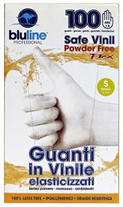 Gloves * 100 Vinyl FLEX BLULINE S Elasticized Gardening
