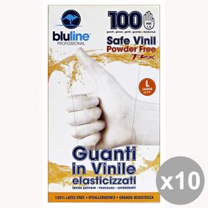 Set 10 Guanti X 100 Vinile FLEX BLULINE L (Elasticizzato) Giardinaggio