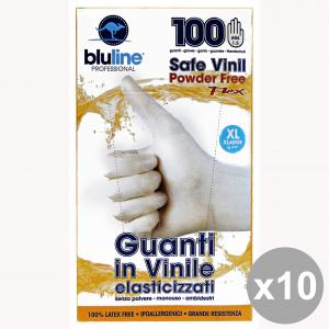 Set 10 Guanti X 100 Vinile FLEX BLULINE XL (Elasticizzato) Giardinaggio