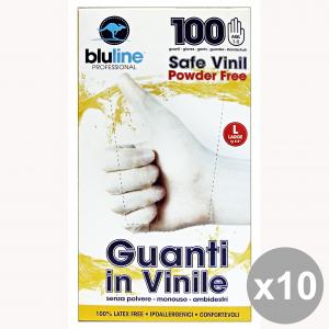 Set 10 Guanti X 100 Vinile BLULINE L Giardinaggio