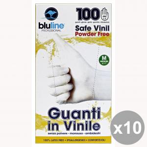 Set 10 Guanti X 100 Vinile BLULINE M Giardinaggio